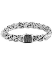 John Hardy - Classic Chain Sterling Silver Lava Medium Flat Twisted Chain Bracelet With Black Sapphire - Lyst