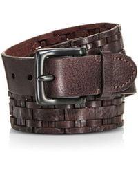 Frye Woven Leather Belt - Brown