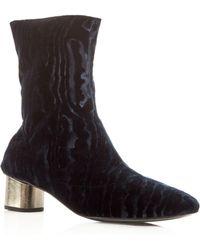 Robert Clergerie - Women's Plopt Embossed Velvet Mid Heel Booties - Lyst