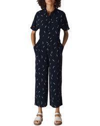 Whistles Brushstroke Print Jumpsuit - Blue