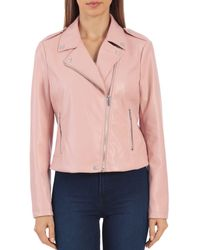 Bagatelle Faux - Leather Moto Jacket - Pink