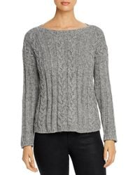 Eileen Fisher Baby Alpaca Organic Cotton Cable Knit Top - Gray