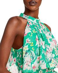 Eliza J Floral Halter Chiffon Gown - Green