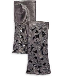 Portolano - Embroidered Leather Fingerless Gloves - Lyst