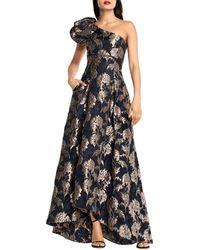 Aidan Mattox One - Shoulder Jacquard Gown - Black