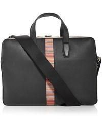 Paul Smith Slim Stripe Leather Briefcase - Black