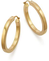 Bloomingdale's 14k Yellow Gold Square Polished Tube Hoop - Metallic
