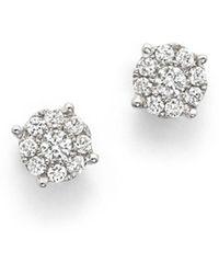 Bloomingdale's - Diamond Cluster Stud Earrings In 14k White Gold, .25 Ct. T.w. - Lyst