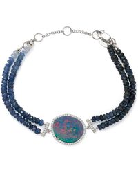 Meira T | 14k White Gold Sapphire Beaded Bracelet With Opal And Diamonds | Lyst