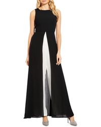 Adrianna Papell Colorblocked Overlay Jumpsuit - Black