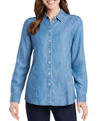 Foxcroft - Riley Pinstriped Chambray Top - Lyst