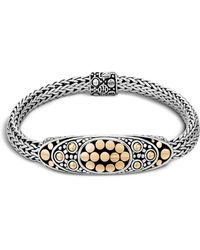 John Hardy - Sterling Silver And 18k Bonded Gold Dot Deco Oval Station Bracelet - Lyst