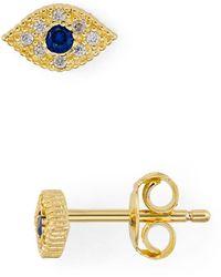 Aqua Evil Eye Pavé Stud Earrings In 18k Gold - Plated Sterling Silver - Metallic