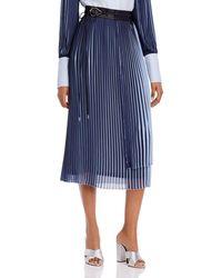 Yigal Azrouël Pleated Georgette Midi Wrap Skirt - Blue