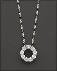 Bloomingdale's - Diamond Circle Pendant Necklace In 14 Kt. White Gold, 0.65 Ct. T.w. - Lyst