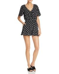 Band Of Gypsies - Polka Dot-print Romper - Lyst