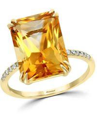 Bloomingdale's Citrine & Diamond Statement Ring In 14k Yellow Gold - Metallic