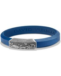 David Yurman - Waves Blue Rubber Id Bracelet In Sterling Silver - Lyst