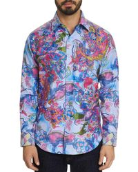 01bddad5 Robert Graham - Men's The Parker Abstract Embroidery Shirt - Blue - Lyst