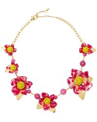 Kate Spade Botanical Garden Resin Flower Statement Necklace - Pink