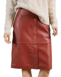 Ted Baker Leather Pencil Skirt - Red