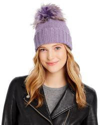 Inverni Asiatic Raccoon Fur Pom - Pom Cashmere Beanie - Purple