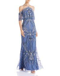 Aidan Mattox Cold Shoulder Beaded Gown - Blue