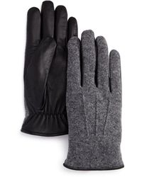Bloomingdale's Wool - And - Leather Tech Gloves - Gray
