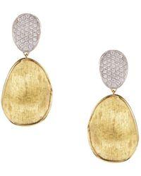 Marco Bicego Diamond Lunaria Two Drop Small Earrings In 18k Gold - Metallic