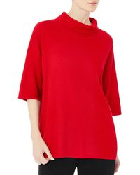 Misook Cowl Neck Tunic Jumper - Red