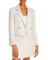 Aqua Cropped Tweed Blazer - White
