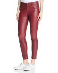 Theory - Leather Skinny Jeans In Deep Mulberry - Lyst