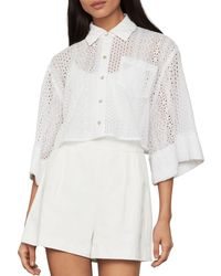 BCBGMAXAZRIA Eyelet Cropped Shirt - White