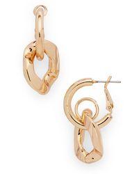 Aqua Link Drop Earrings - Metallic