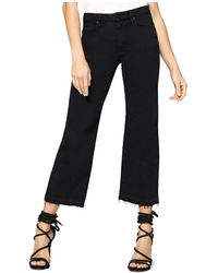 Sanctuary - Flare Crop Released Hem Jeans In Black - Lyst