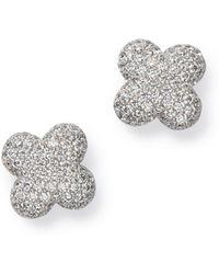 Bloomingdale's - Diamond Clover Stud Earrings In 14k White Gold - Lyst
