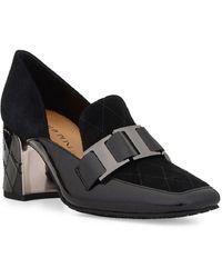 Donald J Pliner Women's Square Toe Suede & Patent Leather Dress Pumps - Black