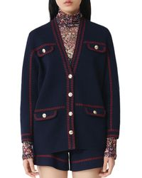 Maje Cardigan With Contrasting Topstitching - Blue