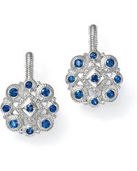 Judith Ripka - Sterling Silver La Petite Snowflake Cluster Earrings With Sapphire - Lyst
