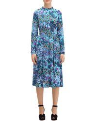 Kate Spade Pacific Petals Floral Midi Dress - Blue