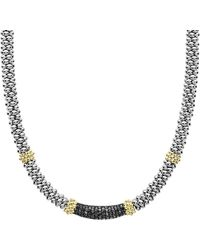 Lagos - 18k Yellow Gold & Sterling Silver Diamond Lux Black Diamond Necklace - Lyst