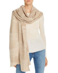 Echo Pleated Plaid Scarf - Natural