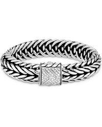 John Hardy Sterling Silver Classic Chain Kami Diamond Medium Chain Link Bracelet - Metallic