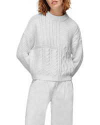 Whistles Patchwork Cable Knit Jumper - White