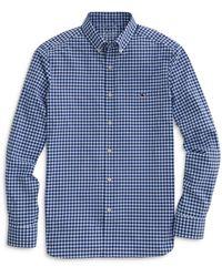 Vineyard Vines Nylon Stretch Gingham Check Classic Fit Button Down Shirt - Blue