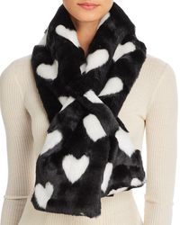 Aqua Printed Faux Fur Scarf - Black
