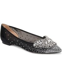 d55991931ae6 Badgley Mischka - Women s Quinn Crystal Embellished Pointed Toe Flats - Lyst