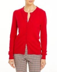 C By Bloomingdale's Crewneck Cashmere Cardigan - Red