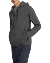 Theory Jamison Neoteric Zip Front Hooded Jacket - Grey