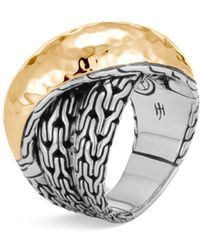 John Hardy Sterling Silver & 18k Bonded Gold Classic Chain Hammered Crossover Ring - Metallic